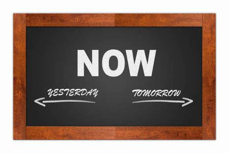 Now, yesterday, tomorrow written with chalk on a blackboard