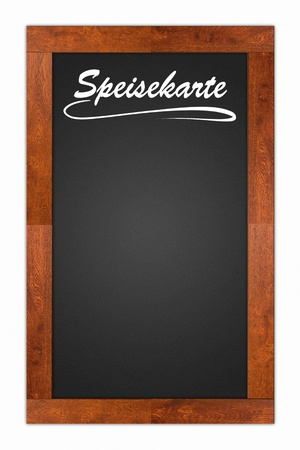 bill board: Speisekarte (Menu) written on a blank blackboard with wooden frame isolated on white background Stock Photo
