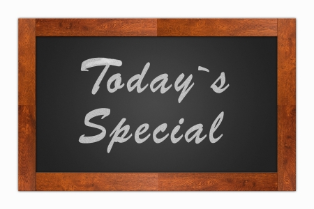 cheaper: Today`s special written with chalk on a isolated blackboard with wooden frame Stock Photo