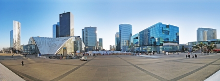 PARIS, FRANCE - DECEMBER 26   Panorama of the business district La Defense, in the western part of Paris on December 26, 2008  Defense is most important business district of Paris