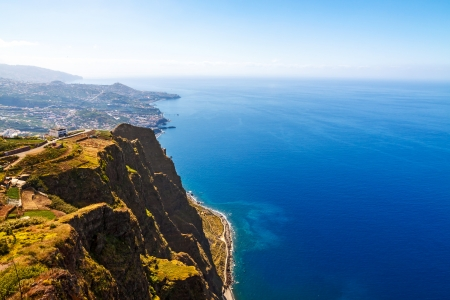 Cabo Girao, Madeira. View from the highest cliff of Europe towards Funchal Stock Photo