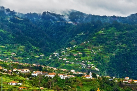 Village near Faial, Madeira, Portugal with its famous terraced hills photo