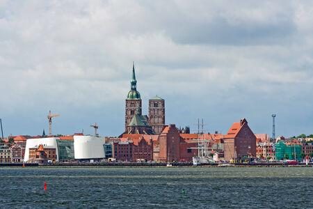 Stralsund panorama, St -Nicolai-Church and the museum Ozeaneum, view from the Island Rügen, Strelasund