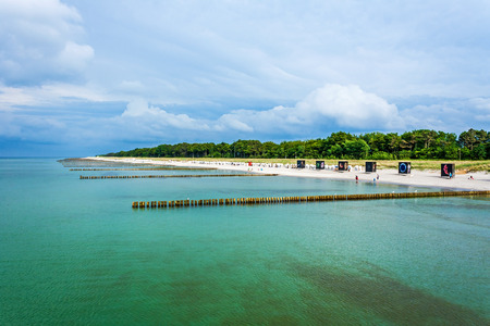 Beach in Zingst, Germany, view from the pier