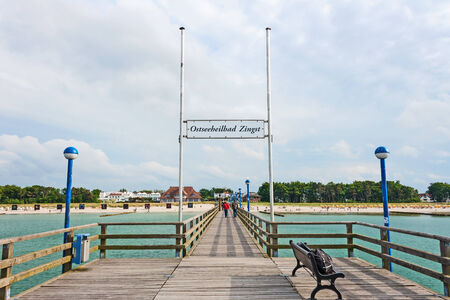 Zingst, Germany - June 16, 2012: Pier in Zingst, a famous tourist destination of the sea spa town.