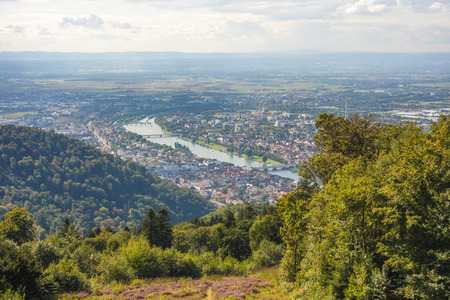 heidelberg: view from Koenigstuhl to Heidelberg city and river Neckar Stock Photo