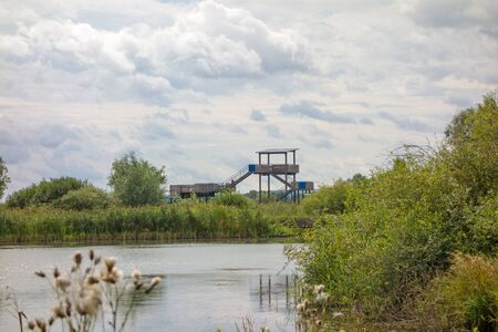 birdwatching: Birdwatching tower at the Altmuehlsee, Bavaria, Germany
