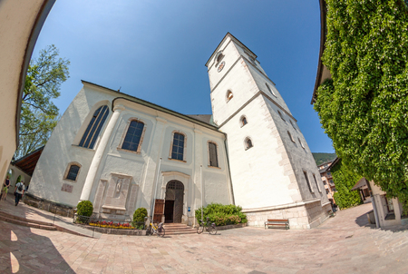 wolfgang: St. Wolfgang, Austria - June 23, 2014: Church of pilgrimage of Wolfgangsee. Popular travel destination in Austria.