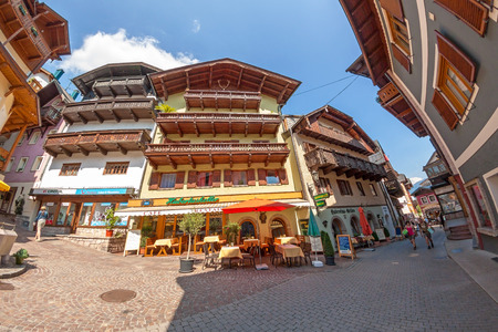 wolfgang: St. Wolfgang, Austria - June 23, 2014: In the center of the village of St. Wolfgang. Popular travel destination in Austria.