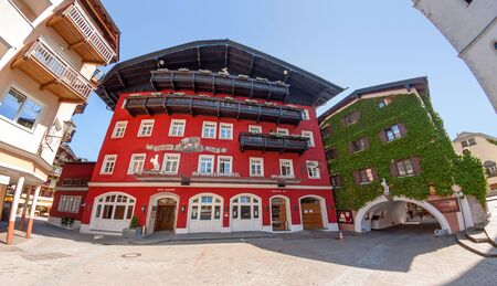 wolfgang: St. Wolfgang, Austria - June 23, 2014: Hotel Weisses Roessl at the famous lake Wolfgangsee. Popular travel destination within Austria.