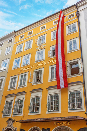 amadeus: Salzburg, Austria - June 25, 2014: Birth house of Wolfgang Amadeus Mozart