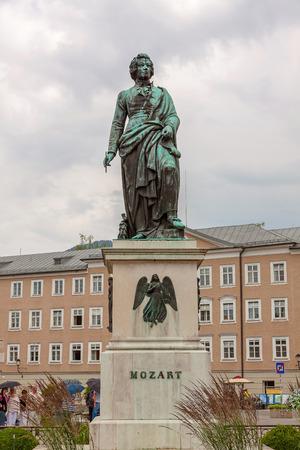 mozart: The statue of Mozart at Mozart Square in Salzburg, Austria Editorial