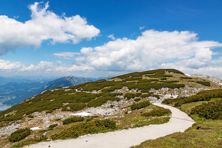 fingers on top: On top of Dachstein mountains, path to the famous Five Fingers viewing platform