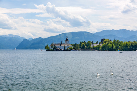 Schloss Ort, castle in Gmunden, Austria, Europe at the Lake Traunsee - view from city center, promenade
