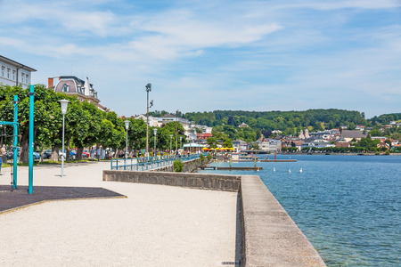 Gmunden, Austria - June 28, 2014: At the city promenade at lake Traunsee.
