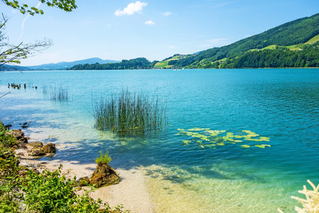 View over the lake Attersee from riverside, Austria, Europe Reklamní fotografie