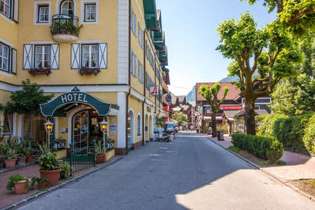 wolfgang: St. Wolfgang, Austria - June 23, 2014: In the center of the village of St. Wolfgang, a famous tourist destination for Austria tourists
