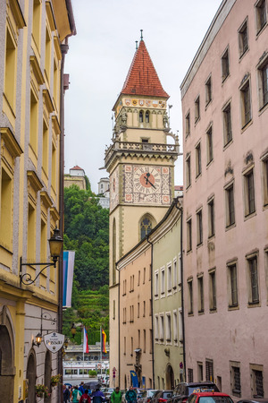 town halls: Passau, Germany - June 29, 2014: Town hall of the historic german city near the river Donau Editorial