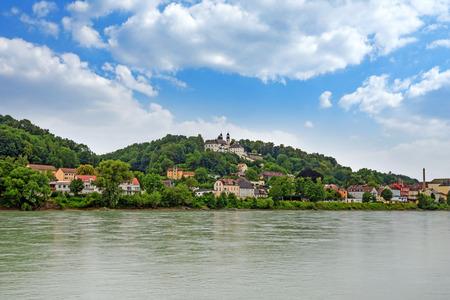 pilgrimage: Pilgrimage church Maria Hilf in Passau, Germany - view from Innkai