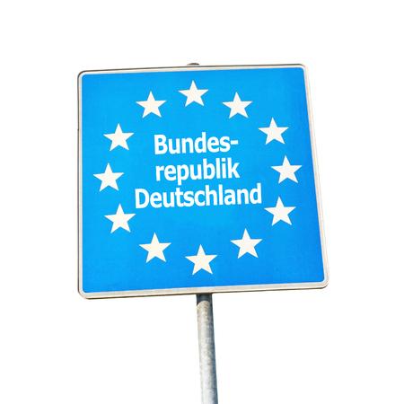 Border sign of germany, europe - isolated on white background