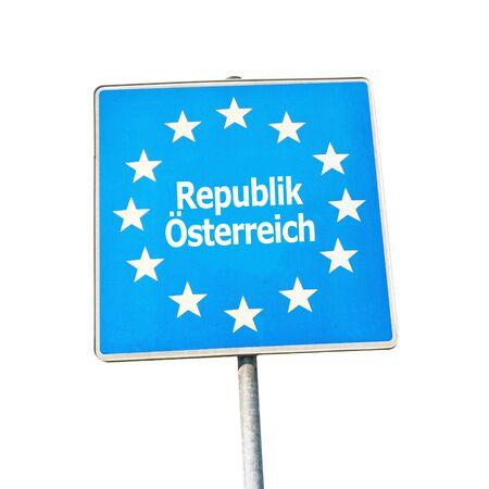 republik: Border sign of austria, europe - isolated on white background Stock Photo