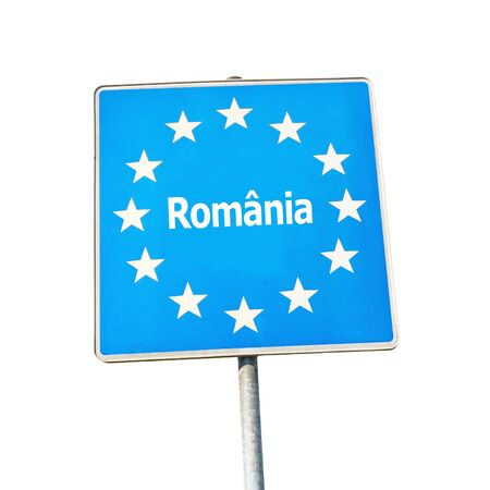 border patrol: Border sign of romania, europe - isolated on white background