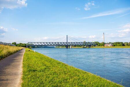 bikeway: Rhine bridge in Karlsruhe, view from river rhine bikeway riversides