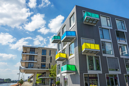 Luxury new apartment block with colorful balconies
