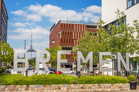 upper case: Bremen, Germany - June 6, 2014: Speicherhafen  Marina Europahafen Bremen, the name of the city written with upper case letters Editorial