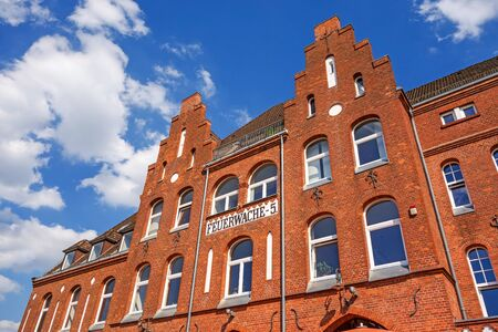 brick building: Bremen, Germany - June 6, 2014: Old firehouse 5 brick building, it hosts today a restaurant.