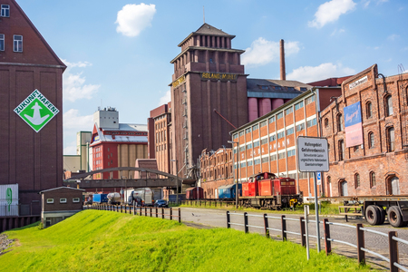 farina: Bremen, Germany - June 6, 2014: Farina producer Roland Muehle - old old brick buildings near harbor in Bremen-Walle in the west of the city