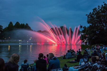 un: Hamburg, Germany - June 7, 2014: Park Planten un Blomen - famous water light concert