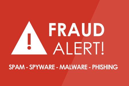 theft prevention: FRAUD Alert concept - white letters and triangle with exclamation mark Stock Photo