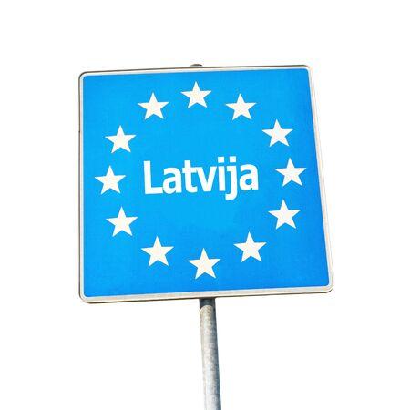 border patrol: Border sign of latvia, europe - isolated on white background