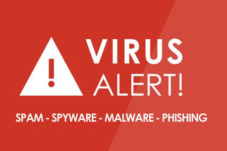 web scam: VIRUS Alert concept - white letters and triangle with exclamation mark