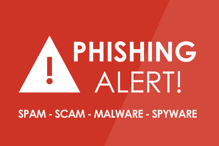 alerta: Concepto Alerta Phishing - letras blancas y tri�ngulo con un signo de exclamaci�n Foto de archivo