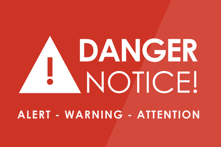 risky behavior: DANGER Notice concept - white letters and triangle with exclamation mark Stock Photo