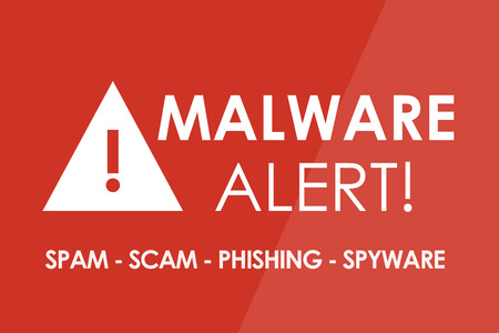 hijack: MALWARE Alert concept - white letters and triangle with exclamation mark