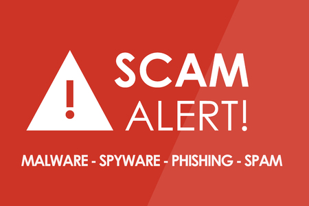 unsolicited: SCAM Alert concept - white letters and triangle with exclamation mark