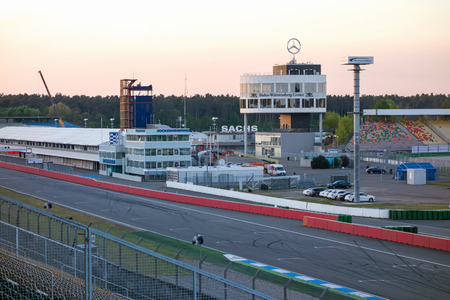 Hockenheim, Germany - April 22, 2014: Racetrack named Hockenheimring - view of the infield with race tower, pit lane, and start  finish straight line Editorial