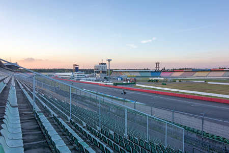 skidmark: Hockenheim, Germany - April 22, 2014: Racetrack named Hockenheimring - view of the infield with race tower, pit lane, and start  finish straight line Editorial