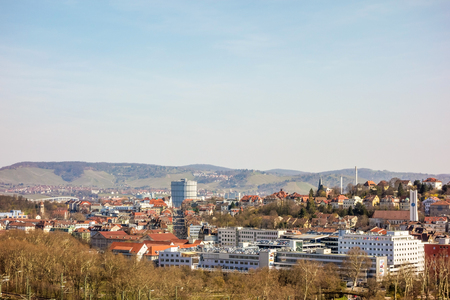 famous building: Stuttgart, Germany - March 17, 2014: View over Stuttgart, East part of the town with the famous building Gaskessel and statium