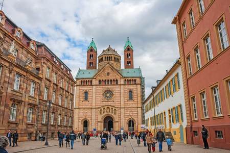 inner city: Speyer, Germany - March 29, 2009: View of the Cathedral in Speyer from the inner city