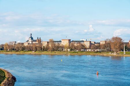 residenz: Mannheim, Germany - March 29, 2009: View of the Castle of Mannheim, river Rhein in front