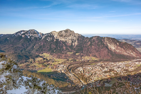 View over the city of Bad Reichenhall, Germany - from mountain named Predigtstuhl
