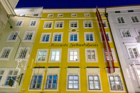 amadeus: Salzburg, Austria - December 31, 2013: Birth house of Wolfgang Amadeus Mozart by night. Editorial