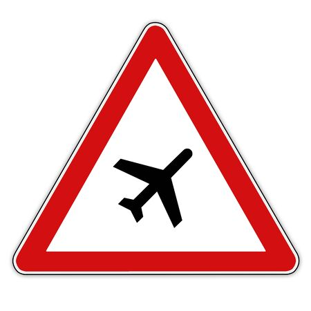 air traffic: Traffic  Road sign warning about air traffic over the road.