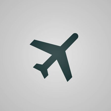 air plane: Flat plane  aircraft web icon  sign - isolated on grey background
