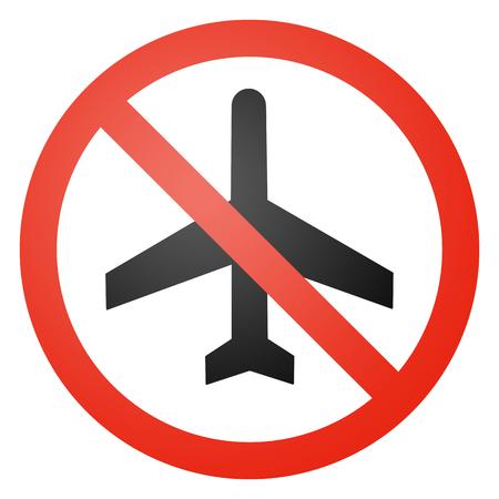anti noise: Aeromobile segnale stradale, rotondo, barrato, a sfondo bianco Archivio Fotografico