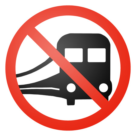 anti noise: Train  Railraod traffic sign, round, crossed out, white background Stock Photo
